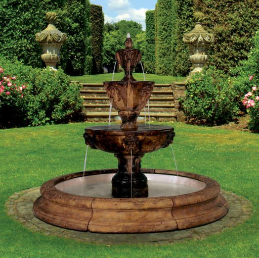 Three-tier Leonesco Fountain In Toscana Pool (original surrounds