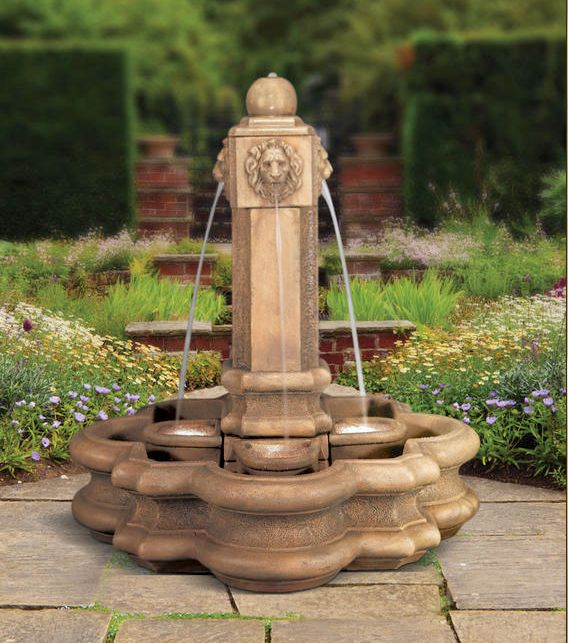 Classic Lion Pillar Fountain With Splash Baskets by Henri Studio