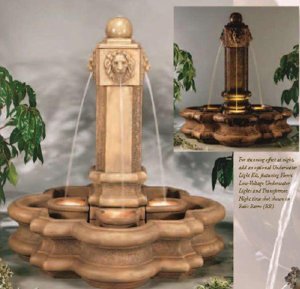 Classic Lion Pillar Fountain Without Splash Baskets by Henri Stu