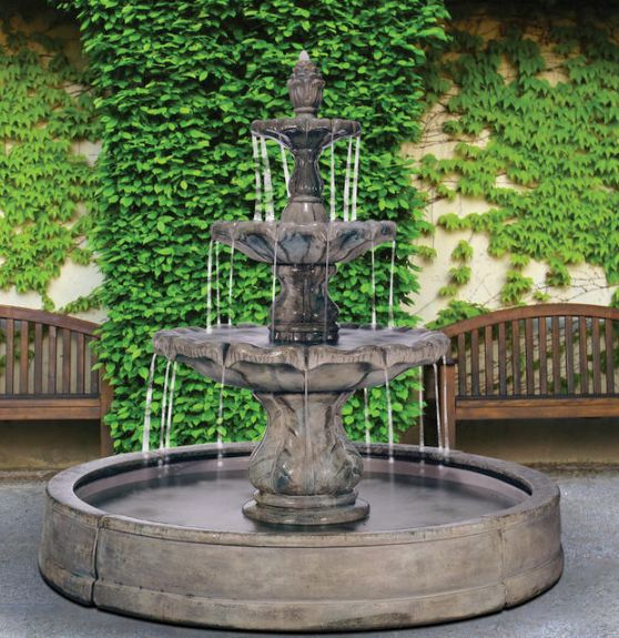 Classical Finial Fountain in Valencia Pool by Henri Studio
