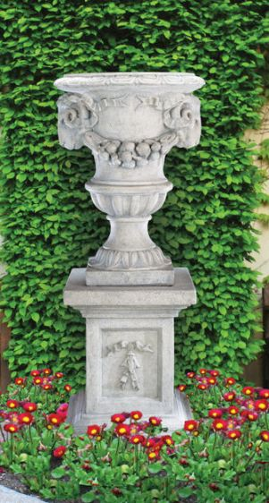 Grande Ram's Head Urn on Optional Pedestal by Henri Studio.