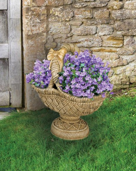 Large Pedestal Basket Planter by Henri Studio.