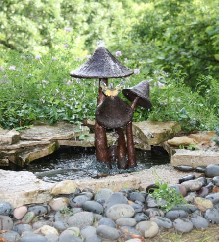 Mushroom Pond Sculpture By Brass Baron #A703FB